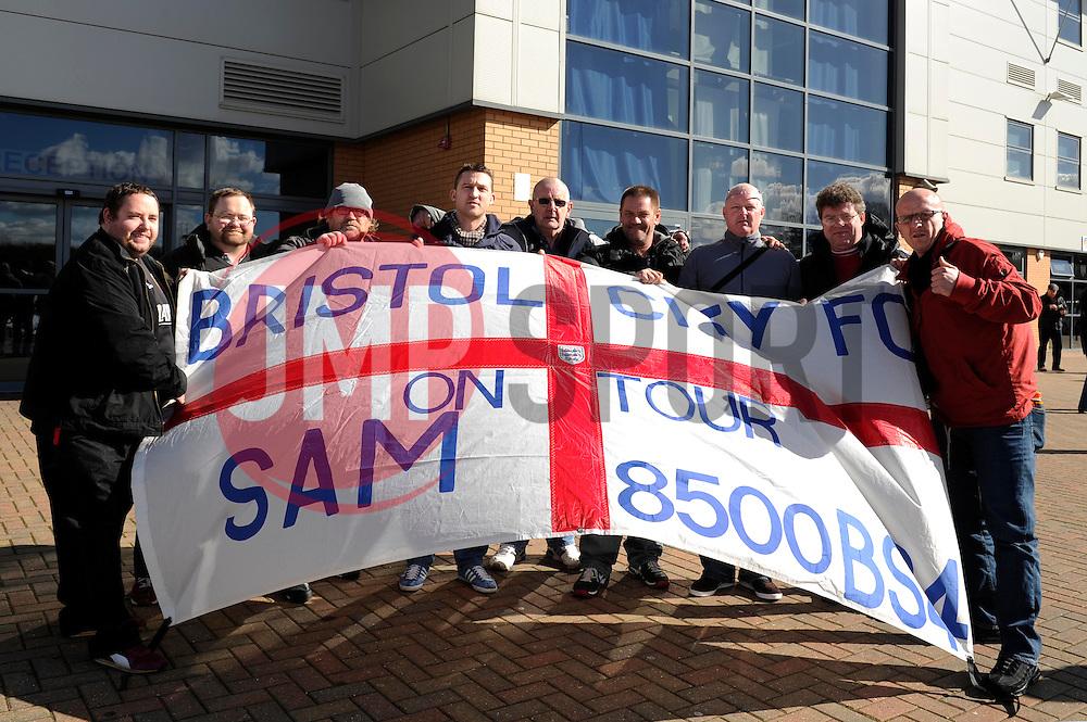 Bristol City fans with a flag - Photo mandatory by-line: Dougie Allward/JMP - Mobile: 07966 386802 22/03/2014 - SPORT - FOOTBALL - Colchester - Colchester Community Stadium - Colchester United v Bristol City - Sky Bet League One