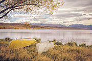 Rowboats along Lake Alexandrina in autumn, MacKenzie Country