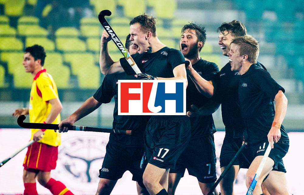 LUCKNOW (India) -   Junior World Cup hockey  U21 for men .  Spain v New Zealand. Dylan Thomas (NZL) scored for NZ. .COPYRIGHT  KOEN SUYK