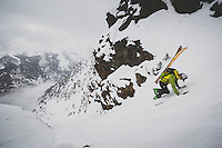 Rob Lea hikes to reach the top of Tanner's Chute, a 3500 foot ski/snowboard couloir in the Wasatch Mountains, Utah