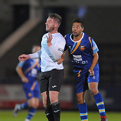 TELFORD COPYRIGHT MIKE SHERIDAN Steph Morley of Telford during the National League North fixture between AFC Telford United and Gloucester City at the New Bucks Head Stadium on Tuesday, September 3, 2019<br /> <br /> Picture credit: Mike Sheridan<br /> <br /> MS201920-015