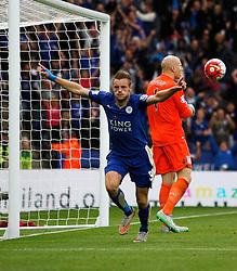 Jamie Vardy of Leicester City celebrates scoring his sides second goal  - Mandatory byline: Jack Phillips/JMP - 07966386802 - 13/09/2015 - SPORT - FOOTBALL - Leicester - King Power Stadium - Leicester City v Aston Villa - Barclays Premier League