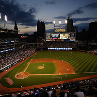 CLEVELAND, OH USA - JULY 6: Night falls on Cleveland during the game between the Cleveland Indians and the New York Yankees at Progressive Field in Cleveland, OH, USA on Wednesday, July 6, 2011.