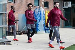LIVERPOOL, ENGLAND - Monday, February 18, 2019: Liverpool's Naby Keita, Mohamed Salah and Adam Lallana during a training session at Melwood ahead of the UEFA Champions League Round of 16 1st Leg match between Liverpool FC and FC Bayern München. (Pic by Paul Greenwood/Propaganda)