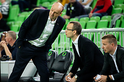 Jure Zdovc, coach of Petrol Olimpija with his assistant coaches Gasper Potocnik and Ziga Mravljak during basketball match between KK Petrol Olimpija and KK Rogaska in Round #5 of Liga Nova KBM za prvaka 2018/19, on March 31, 2019, in Arena Stozice, Ljubljana, Slovenia. Photo by Vid Ponikvar / Sportida