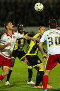 Players battle for the ball during the Sky Bet League 1 match between Burton Albion and Sheffield Utd at the Pirelli Stadium, Burton upon Trent, England on 29 September 2015. Photo by Aaron Lupton.