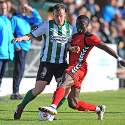 TELFORD COPYRIGHT MIKE SHERIDAN 29/9/2018 - Daniel Udoh of AFC Telford battles for the ball during the Conference North fixture between Blyth Spartans and AFC Telford United at Croft Park, Blyth.