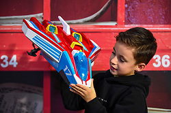 """© Licensed to London News Pictures. 13/11/2019. LONDON, UK. Harry (aged 7) plays with a PAW Patrol Mighty Plus Pups Super PAWS Mighty Jet Command Centre by Spin Master Toys at the preview of """"DreamToys"""", the official toys and games Christmas Preview, held at St Mary's Church in Marylebone.  Recognised as the countdown to Christmas, the Toy Retailer's Association, an independent panel of leading UK toy retailers, have selected the definitive and most authoritative list of which toys will be the hottest property this Christmas.  Photo credit: Stephen Chung/LNP"""