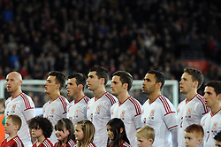 The Wales team line up before the international friendly against Iceland - Photo mandatory by-line: Dougie Allward/JMP - Tel: Mobile: 07966 386802 03/03/2014 -