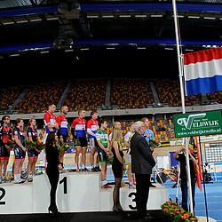 het podium van het NK baanwielrennen in Apeldoorn 2015
