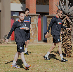 09.06.2010, Sports Campus, Rustenburg, RSA, FIFA WM 2010, England Training im Bild Wayne Rooney arrives for training with Matthew Upson & Gareth Barry, EXPA Pictures © 2010, PhotoCredit: EXPA/ IPS/ Mark Atkins / SPORTIDA PHOTO AGENCY