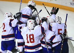 Team Norway celebrating after ice-hockey match Germany vs Norway (they have old replika jerseys from year 1966) at Preliminary Round (group C) of IIHF WC 2008 in Halifax, on May 07, 2008 in Metro Center, Halifax,Nova Scotia, Canada. Norway won 3:2. (Photo by Vid Ponikvar / Sportal Images)