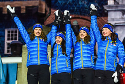 March 16, 2019 - –Stersund, Sweden - 190316 Hanna Öberg, Linn Persson, Mona Brorsson, Anna Magnusson of Sweden celebrate during the medal ceremony for the Women's 4x6 km Relay during the IBU World Championships Biathlon on March 16, 2019 in Östersund..Photo: Petter Arvidson / BILDBYRÃ…N / kod PA / 92270 (Credit Image: © Petter Arvidson/Bildbyran via ZUMA Press)