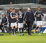 Dundee&rsquo;s Kane Hemmings goes off injured  - Dundee v Kilmarnock, Ladbrokes Scottish Premiership at Dens Park<br /> <br />  - &copy; David Young - www.davidyoungphoto.co.uk - email: davidyoungphoto@gmail.com