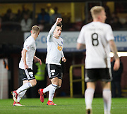 30th November 2018, Tannadice Park, Dundee, Scotland; Scottish Championship football, Dundee United versus Ayr United; Lawrence Shankland of Ayr United celebrates after scoring for 2-0 in the 41st minute