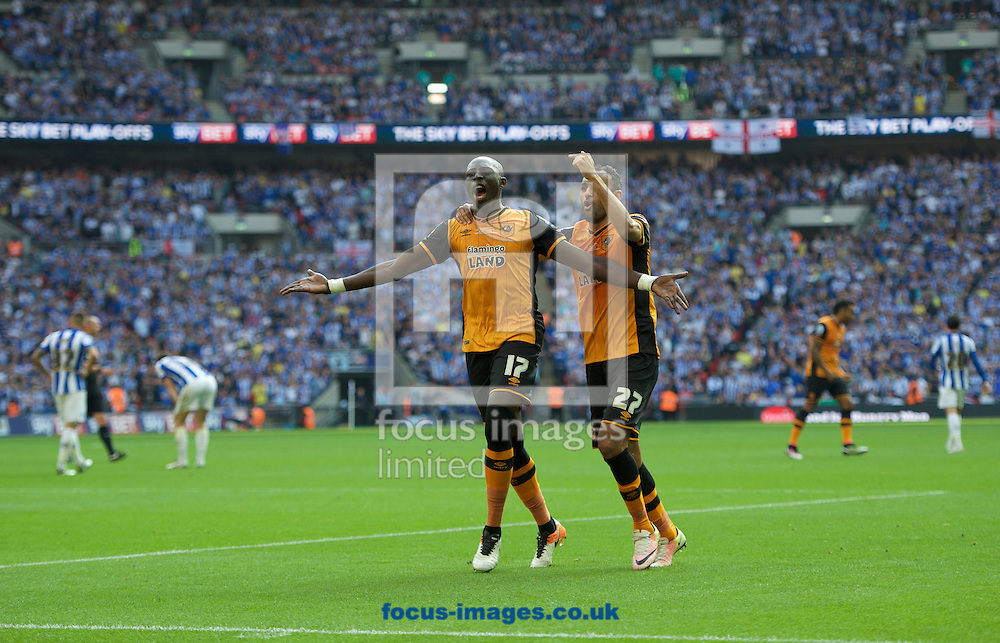 Mohamed Diame of Hull City celebrates with Ahmed Elmohamady of Hull City (right) after scoring the opening goal during the Sky Bet Championship Play-off Final at Wembley Stadium, London<br /> Picture by Alan Stanford/Focus Images Ltd +44 7915 056117<br /> 28/05/2016