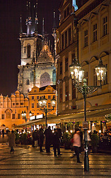 Prague, Czech Republic:  Old Town Square at night.