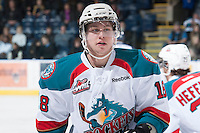 KELOWNA, CANADA - JANUARY 24:  Cody Fowlie #18 of the Kelowna Rockets skates on the ice against the Seattle Thunderbirds at the Kelowna Rockets on January 24, 2013 at Prospera Place in Kelowna, British Columbia, Canada (Photo by Marissa Baecker/Shoot the Breeze) *** Local Caption ***