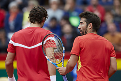 April 7, 2018 - Valencia, Valencia, Spain - Marc Lopez (R) of Spain reacts next to Feliciano Lopez of Spain in their doubles match against Tim Putz and Jan-Lennard Struff of Germany during day two of the Davis Cup World Group Quarter Finals match between Spain and Germany at Plaza de Toros de Valencia on April 7, 2018 in Valencia, Spain  (Credit Image: © David Aliaga/NurPhoto via ZUMA Press)