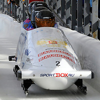 01 March 2009:      The Russia 1 bobsled driven by Alexsandr Zubkov with sidepushers Roman Oreshniko and Dmitry Trunenkov, and brakeman Dmitry Stepushkin finish their 4th place run at the 4-Man World Championships competition on March 1 at the Olympic Sports Complex in Lake Placid, NY.   The USA 1 bobsled driven by Steven Holcomb with sidepushers Justin Olsen and Steve Mesler, and brakeman Curtis Tomasevicz won the competition and the World Championship bringing the U.S. their first world championship since 1959 with a time of 3:36.61.