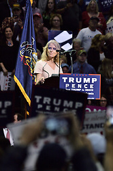 Kellyann Conway, Campaign Manager of Republican presidential candidate  gets on stage ahead of Donald Trump, during a rally in Hershey, in Central Pennsylvania.