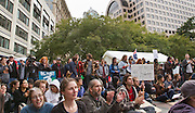"""Seattle, WA, USA - Oct.12,2011 - Surrounded by bank buildings and office towers in Seattle's Westlake Park, students from several colleges and universities join """"Occupy Seattle"""" events, part of """"Occupy Wall Street"""" gatherings in several U.S. cities. Schools include the University of Washington, Seattle Central Community College, Cornish College of the Arts and others. The building owned by Washington Mutual Bank before its collapse is seen above, center."""