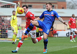 Bristol City's Greg Cunningham chases down Rochdale's Ashley Eastham for the ball - Photo mandatory by-line: Dougie Allward/JMP - Mobile: 07966 386802 - 28/02/2015 - SPORT - football - Bristol - Ashton Gate - Bristol City v Rochdale AFC - Sky Bet League One