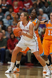 Dec 20, 2011; Stanford CA, USA;  Stanford Cardinal forward Joslyn Tinkle (44) passes the ball against the Tennessee Lady Volunteers during the first half at Maples Pavilion.  Stanford defeated Tennessee 97-80. Mandatory Credit: Jason O. Watson-US PRESSWIRE