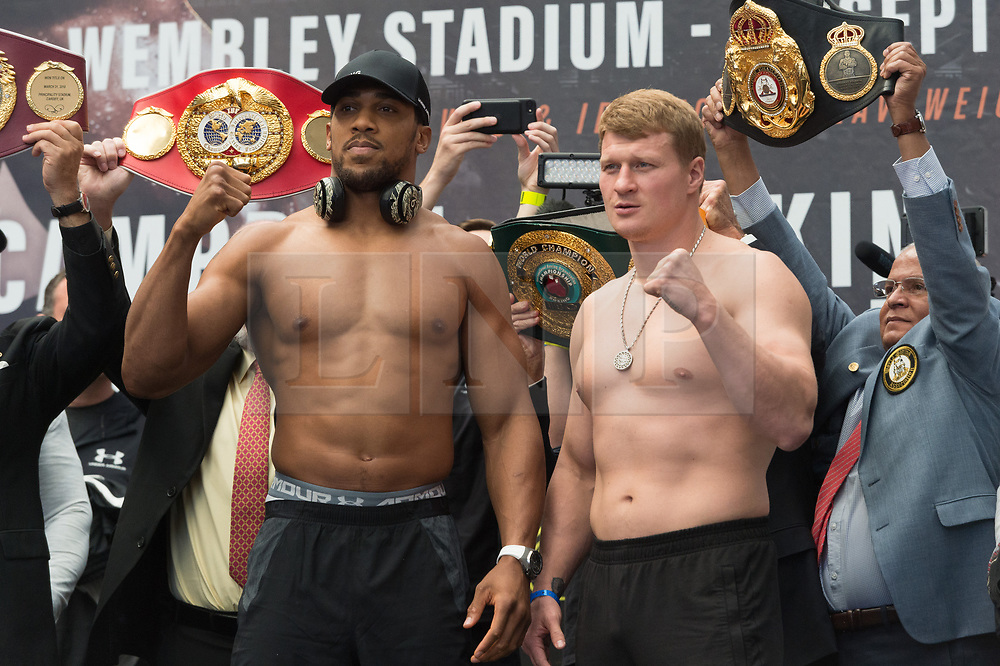 © Licensed to London News Pictures. 21/09/2018. London, UK. British heavyweight professional boxer Anthony Joshua weighs in with Russian boxer Alexander Povetkin before their fight at Wembley stadium. Photo credit: Ray Tang/LNP