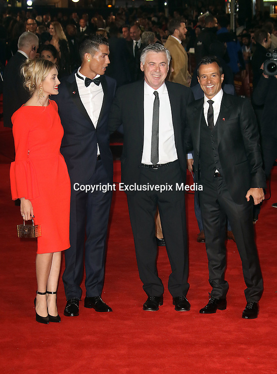 November 9, 2015 - Cristiano Ronaldo with Carlo Ancelotti and Jorge Mendes attending The World Premiere of 'Ronaldo' at Vue West End, Leicester Square in London, UK.<br /> ©Exclusivepix Media