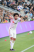 Los Angeles FC defender Omar Gaber (4) passess the ball  during the game that ended in a 2-2 tie against New York City in a MLS soccer match in Los Angeles, Sunday, May 13, 2018. (Ed Ruvalcaba/Image of Sport)