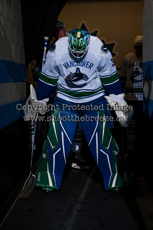 PENTICTON, CANADA - SEPTEMBER 8: Thatcher Demko #35 of Vancouver Canucks stands in the tunnel at the start of the game against the Winnipeg Jets on September 8, 2017 at the South Okanagan Event Centre in Penticton, British Columbia, Canada.  (Photo by Marissa Baecker/Shoot the Breeze)  *** Local Caption ***
