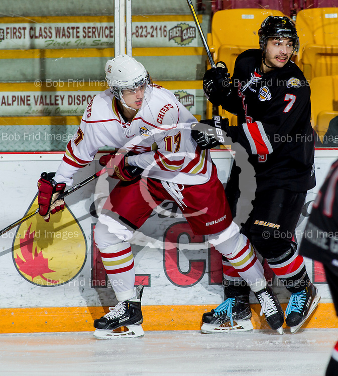 22 November 2014:  Ryan Bowen (17) of the Chiefs  during a game between the Chilliwack Chiefs and the Coquitlam Express at Prospera Centre, Chilliwack, BC.    ****(Photo by Bob Frid - All Rights Reserved 2014): mobile: 778-834-2455 : email: bob.frid@shaw.ca ****
