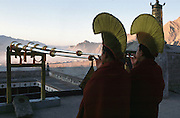 Tibetan New Year, Nechung Monestary monks at dawn sound their trumpets in a call to prayer.