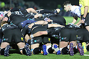The Glasgow Warriors pack about to scrum down during the Heineken Champions Cup match between Glasgow Warriors and Cardiff Blues at Scotstoun Stadium, Glasgow, Scotland on 13 January 2019.