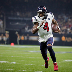 Sep 9, 2019; New Orleans, LA, USA; Houston Texans quarterback Deshaun Watson (4) runs for a touchdown against the New Orleans Saints during the first quarter at the Mercedes-Benz Superdome. Mandatory Credit: Derick E. Hingle-USA TODAY Sports