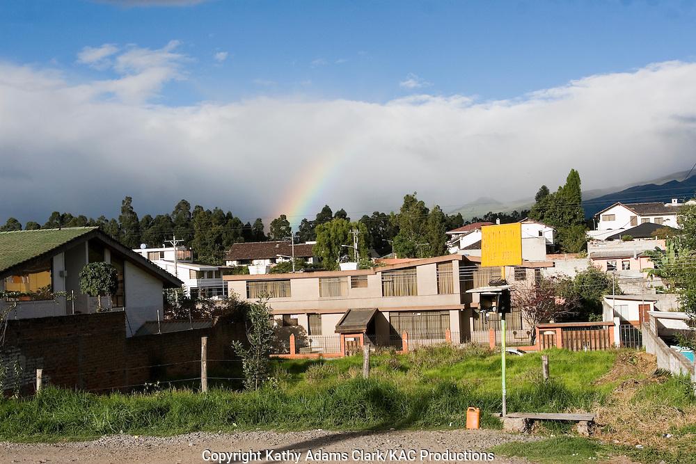 Rainbow over buildings in Quito, Ecuador.