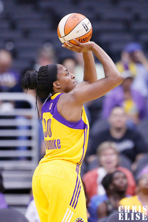 25 May 2014: Los Angeles Sparks forward Nneka Ogwumike (30) takes a jumpshot during the Los Angeles Sparks 83-62 victory over the San Antonio Stars, at the Staples Center, Los Angeles, California, USA.