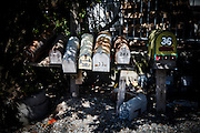 Marin City, April 6 2012 - Mailboxes in front of the Vallejo, a floating house previously owned by XXXXX.
