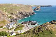National Trust cafe and coastal scenery, Kynance Cove, Lizard peninsula, Cornwall, England, UK