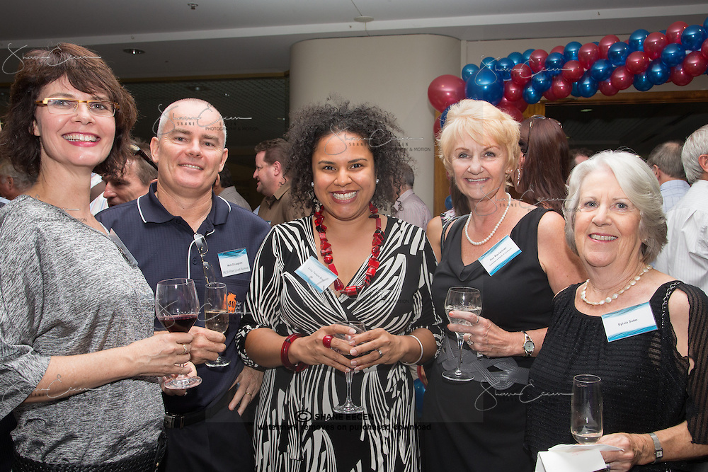Trish Gaf, Nick O'loughlin, Every Temple Bree, Roz Maclachlan & Sylvia Suter. RLB 40th Birthday, Hilton. Photo Shane Eecen Creative Light Studios