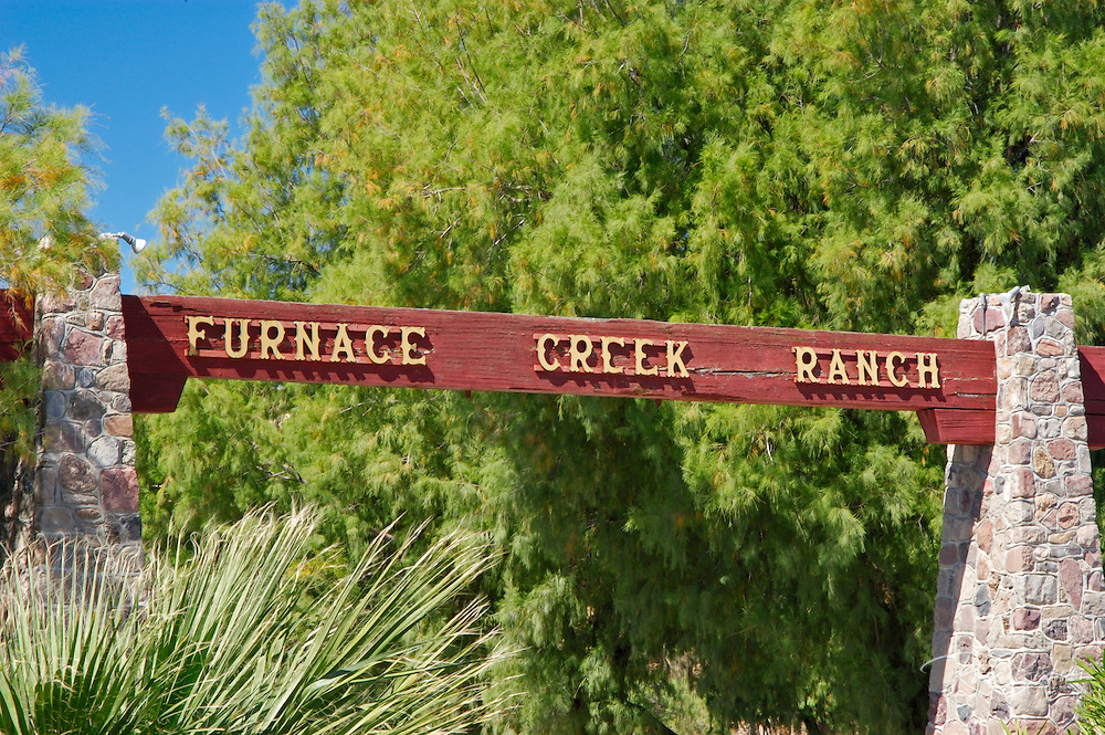 Entrance sign at Furnace Creek Ranch, Death Valley National Park, California
