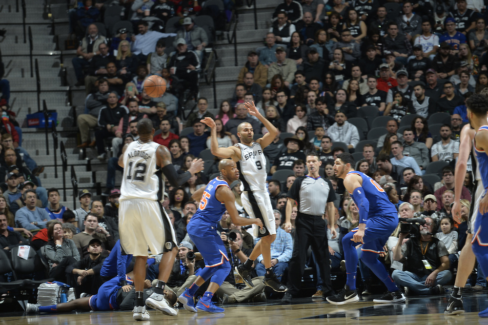 SAN ANTONIO TX - December 28:   XXX of the San Antionio Spurs drives to the basket against the New York Knicks on January 28 at the AT&T Center in San Antonio, Texas.  NOTE TO USER: User expressly acknowledges and agrees that, by downloading and or using this photograph, User is consenting to the terms and conditions of the Getty Images License Agreement. Mandatory Copyright Notice: Copyright 2017 NBAE (Photo by Mark Sobhani/NBAE via Getty Images)