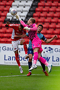 Wycombe Wanderers goalkeeper Ryan Allsop(1) makes a save from Charlton Athletic forward Karlan Ahearne-Grant (18) during the EFL Sky Bet League 1 match between Charlton Athletic and Wycombe Wanderers at The Valley, London, England on 8 September 2018.