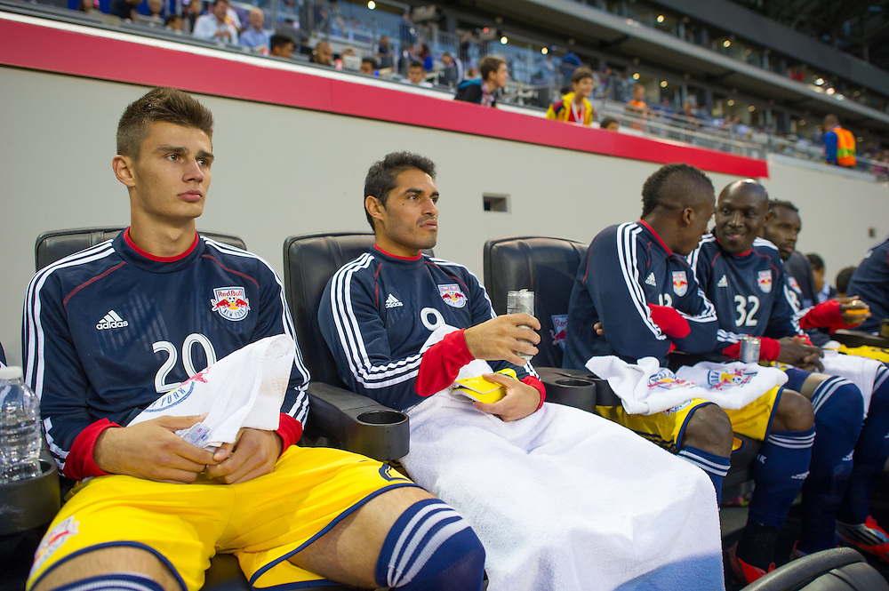 HARRISON, NJ - SEPTEMBER 14:  Members of the New York Red Bulls sit on the bench prior to their game against the Toronto FC at Red Bulls Arena on September 14, 2013. (Photo By: Rob Tringali)
