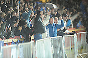 Bristol Rovers fans celebrates after Stuart Sinclair  scores during the Sky Bet League 2 match between Exeter City and Bristol Rovers at St James' Park, Exeter, England on 28 November 2015. Photo by Graham Hunt.