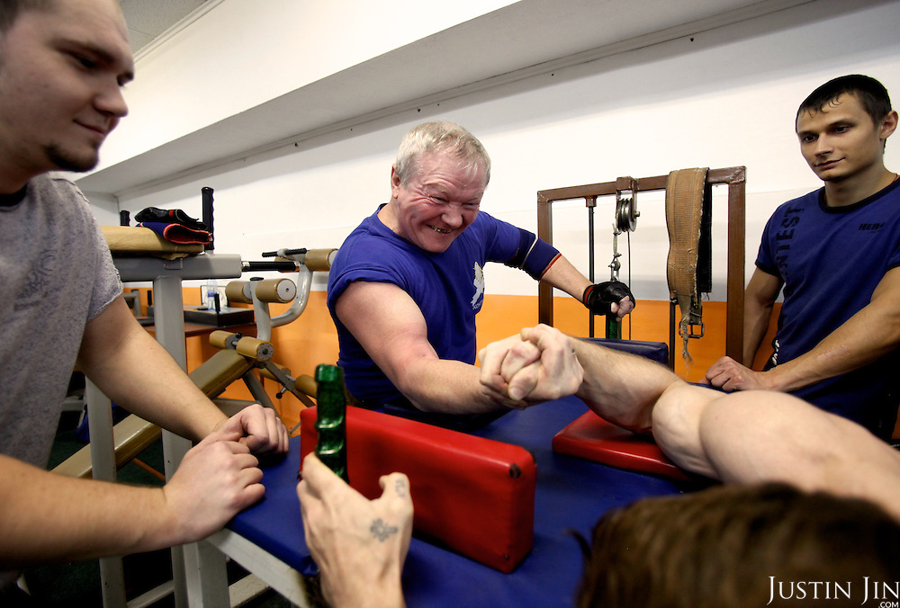 57-year-old Sergei Gongarov participates in arm-wrestling in Moscow.