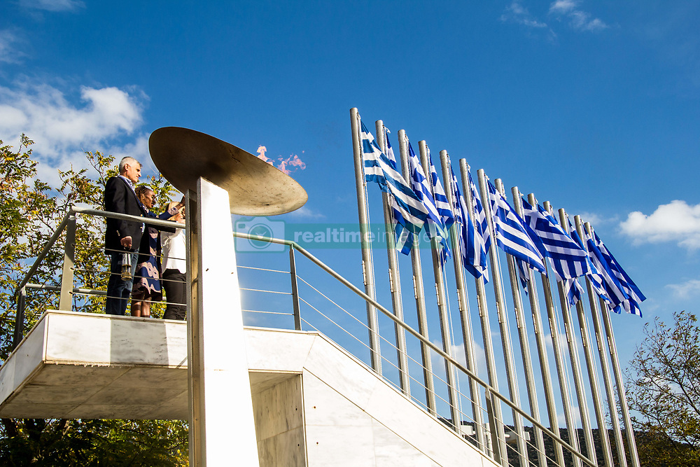 November 10, 2018 - Athens, Greece - The opening ceremony of the 36th Athens Authentic Marathon took place today at the Marathonas Tomb where the battle between Athenians and Persians took place in 480 bc. After the win for Athenians, a runner run all the way to Athens to bring the good news and died from exhaustion right after, therefore the event is inspired from that incident. (Credit Image: © Kostas Pikoulas/Pacific Press via ZUMA Wire)