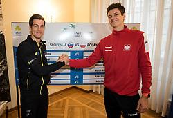 Aljaz Bedene of Slovenia and  Hubert Hurkacz of Poland during Official Draw of Davis Cup 2018 tournament between National teams of Slovenia and Poland, on February 2, 2018 in Mestna hisa - Mariborski Rotovz, Maribor, Slovenia. Photo by Rene Gomolj / Sportida