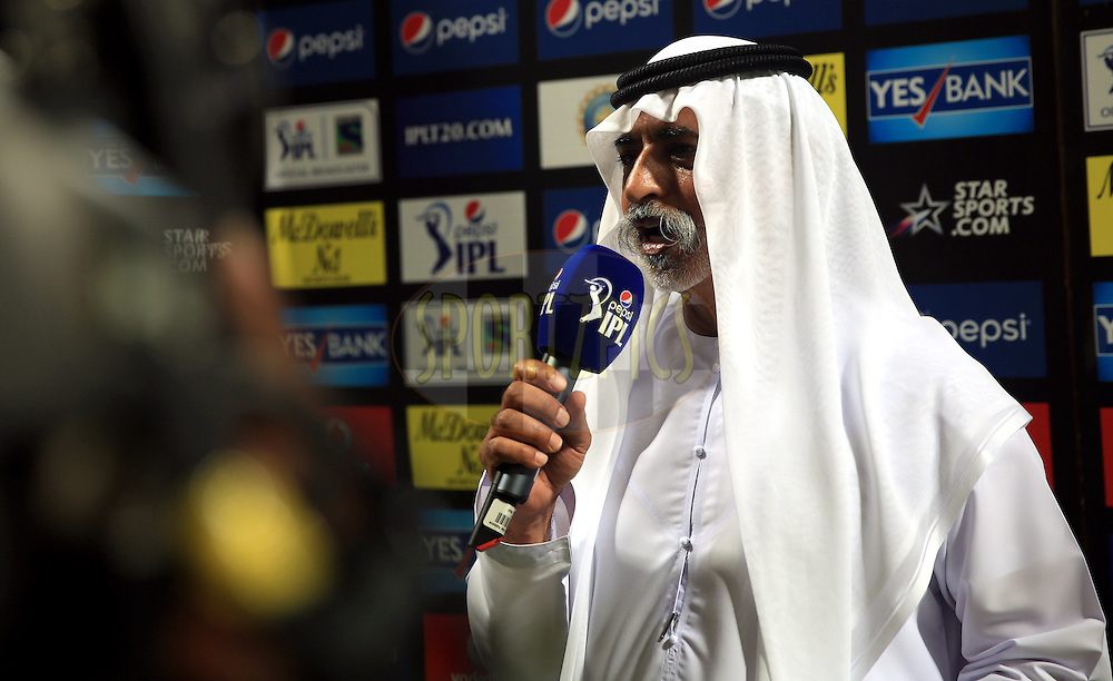 His Excellency Shaikh Nahayan Mubarak during match 19 of the Pepsi Indian Premier League 2014 Season between The Kolkata Knight Riders and the Rajasthan Royals held at the Sheikh Zayed Stadium, Abu Dhabi, United Arab Emirates on the 29th April 2014<br /> <br /> Photo by Sandeep Shetty / IPL / SPORTZPICS